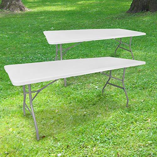 SKYLANTERN Lot de 2 Tables Pliantes de Camping 180 cm Rectangulaire Blanche - Table de Jardin 8 Personnes L180 x l74 x H74cm en HDPE Haute Densité Épaisseur 3,5 cm - Pieds en Acier Pelliculé Gris