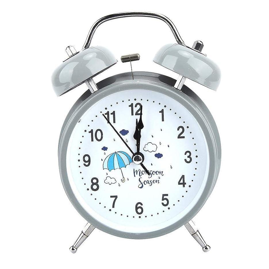 フックブラストそれら目覚まし時計、ポータブルメタルミュートナイトライト発光目覚まし時計ダブルベル漫画形状子供の学生のベッドサイド目覚まし時計寝室用(グレー)