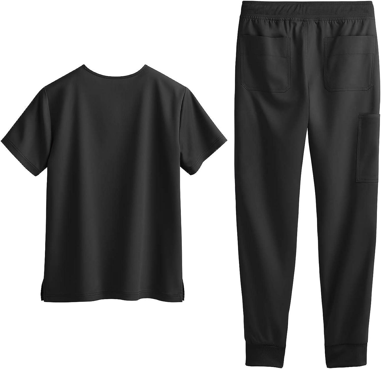 Tafford Active Stretch Men's Jogger Scrub Set (S-3X, 8 Colors) – Includes V-Neck Top and Drawstring Jogger Pant: Clothing
