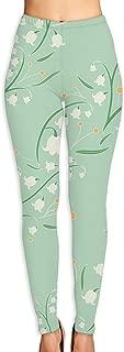 Super Soft Printed Fashion Leggings - Slim Elastic Waistband -Green Canterbury Bell Fun Prints