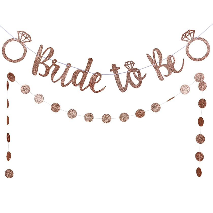 LeeSky Rose Gold Glittery Bride to Be Banner and Rose Gold Glittery Circle Dots Garland (25pcs Circle dots)- Bachelorette Wedding Engagement Party Decoration Supplies