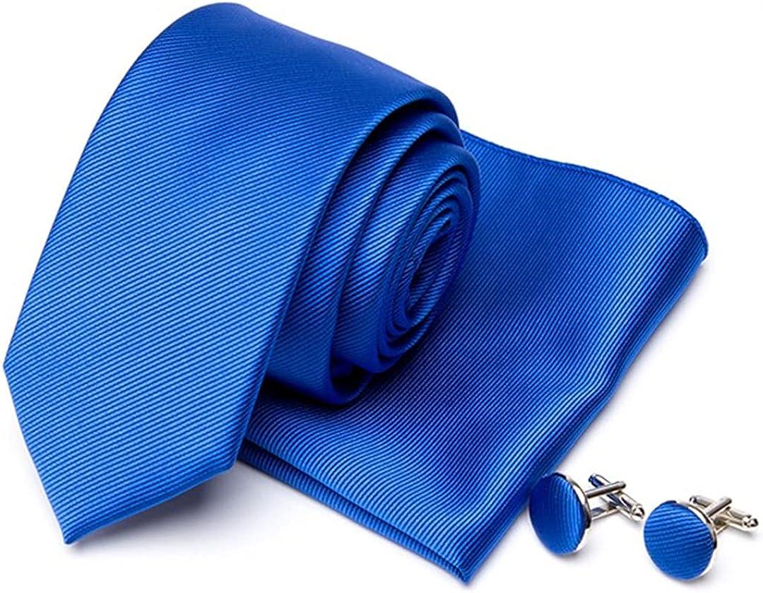 Men Tie Cravat Cufflinks Set Solid Red Ties Handkerchief Party Necktie Gift Wedding Accessories