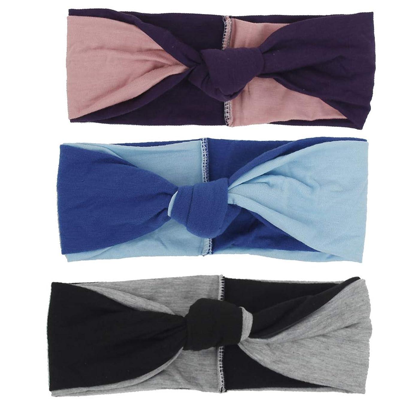 シンボルゾーン隠すヘアバンド、カラーマッチング2色結び目のあるヘアバンド女性のヘアアクセサリー(3) (色 : #3)