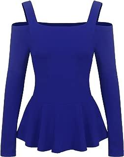 Women's Cold Shoulder Long Sleeve Ruffle Side Casual Peplum Top Shirt
