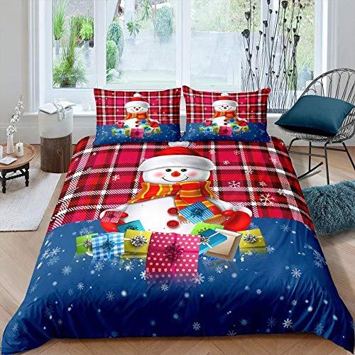 Matasuer Kids Duvet Cover Set - Christmas Snowman Gift - Double (200 X 200 Cm) Bedding Set Microfiber Quilt Cover And 3 Pieces Pillowcases Duvet Set Gift For Teens Girls