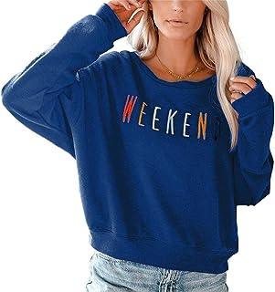 女士周末字母刺绣长袖轻质套头运动衫上衣