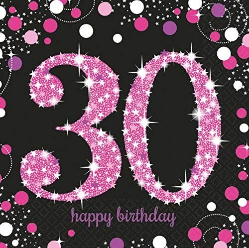 Amscan 9900595 - Servietten 30. Geburtstag, 16 Stück, 33 x 33 cm, Happy Birthday, Sparkling Celebration