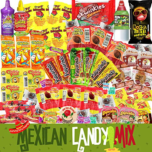 Mexican Candy Assortment Bag Mix (70 COUNT). Best Mexican Snacks Variety of Spicy, Sweet and Sour Mexican Candies. Dulces Mexicanos. Perfect Mexican Candy Bulk Gift Set by Pawesome Things LLC