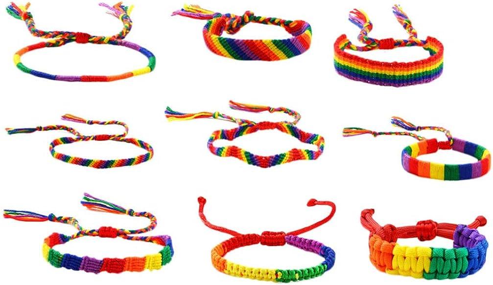 Happyyami 9pcs Boho Woven Thread Bracelets Handmade Colorful Charm Friendship Bracelets Jewelry