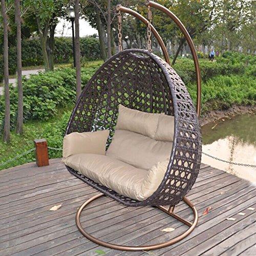 Home Deluxe – Polyrattan Hängesessel – Twin braun – inkl. Gestell, Sitz- und Rückenkissen | Hängestuhl Gartenschaukel Hängekorb - 4
