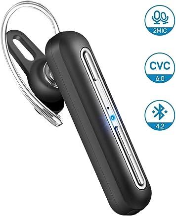 Oreillette Bluetooth, Mpow EM10 Ecouteur 18H Autonomie/2 Micros/CVC 6.0 Réduction du Bruit Mono Oreillette Bluetooth sans Fil pour Voiture en Mains Libres Compatible avec Sumsung, iPhone, Huawei, etc.