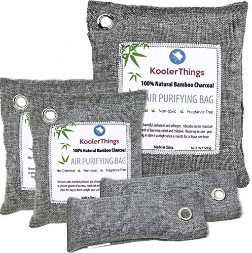 Buy Bargain KoolerThings 5 Pack - Bamboo Charcoal Air Purifying Bags (1 x 500g) (2 x 200g) (2 x 75g)...