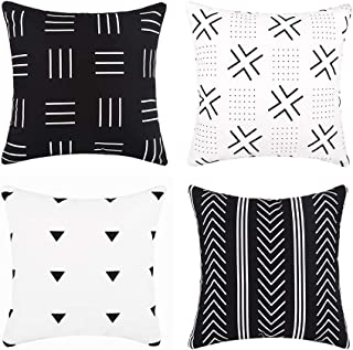 cygnus Set of 4 Boho Throw Pillow Covers Black and White Cotton Canvas Stripe and Triangle Modern Geometric Farmhouse Decorative Cushion Covers for Couch Sofa 18x18 inch