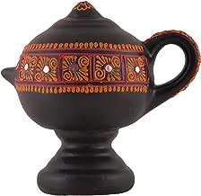 Shabana Art Potteries Handmade Terracotta Clay Magic Oil lamp (Black)