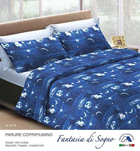 Smartsupershop Parure Housse de Couette 1 Place et Demi – Nuit étoilée – en Coton Made in Italy MG