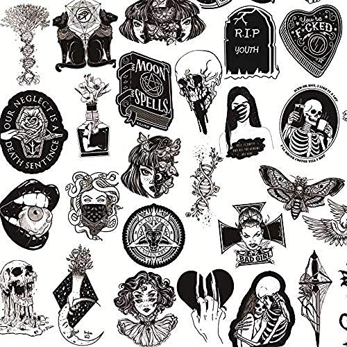 Black and White Gothic Style Girl and Skull Stickers Graffiti Stickers for Laptop Luggage Car Styling Guitar 50 Pieces
