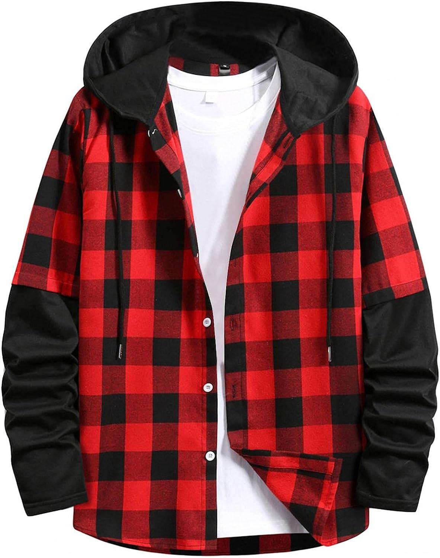 XUNFUN Men's Plaid Hooded Shirts Jacket Casual Lightweight Stitching Long Sleeve Drawstring Button Down Hoodie Shirt Outwear