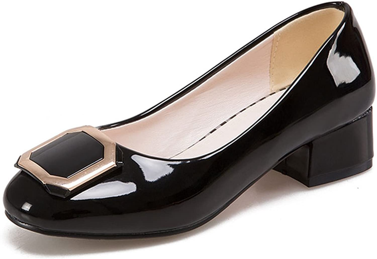 York Zhu Women Pumps, Summer Concise Buckle Slip-on Round Toe Square Heel shoes