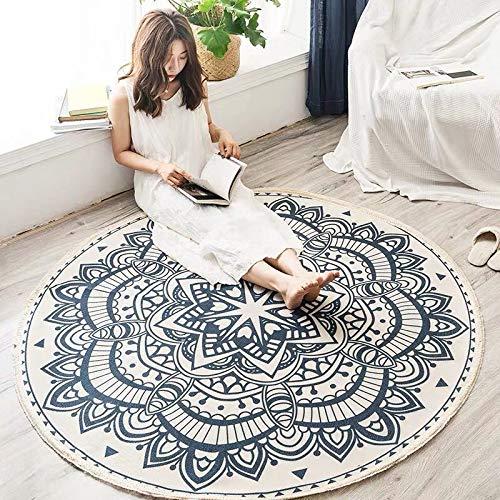 AKEFG Shabby Chic Vintage-Oriental-Medaillon Bereich Teppich, Hellen Töne Jahrgang Traditionell Light Blue Rund Teppich, Anti-Rutsch-Bodenmatten für Wohnzimmer Badezimmer Schlafzimmer,E,150cm