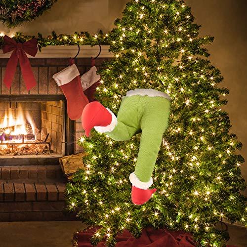 WYBD Santa and Elf Stuck in Christmas Tree Stuffed, Elf Legs for Christmas Decorations Stuffed Legs for Christmas Home Party Tree Fireplace Ornaments (Green)