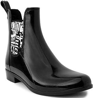 Juicy Couture Womens Romance Rain Boot Black Shiny