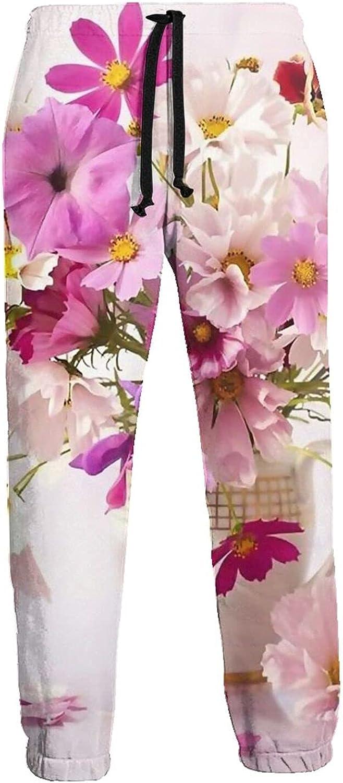 Active Sweats Jogger Pants Pink Purple Flower Vase Running Joggers Casual Sweatpants for Men Women