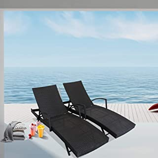 LEAPTIME Outside Lounge Chair Set of 2 Patio Rattan Chaise Lounge Adjustable Backrest Black PE Wicker Sunbed Furniture w/Armrest