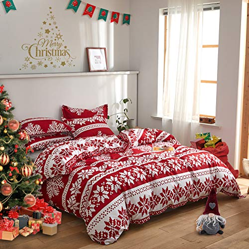 FlySheep Christmas Comforter Set Soft Microfiber Holiday Lightweight Bedding - Red White & Little Pink Snowflake Printed Queen