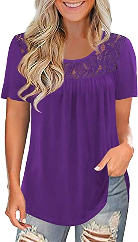 Kiolenxah Womens Summer Tops Women's Plus Size Summer Tops Short Sleeve Shirts Lace Pleated Tunic Tops Blouses S-5XL
