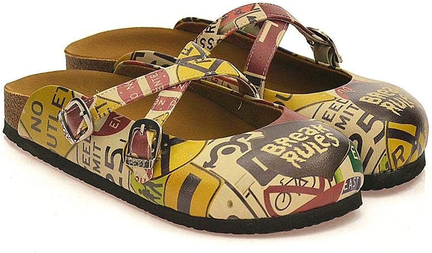 Goby Women's shoes ''Rebellious Girl Doodle Clog'' Sandals 'BKS108'