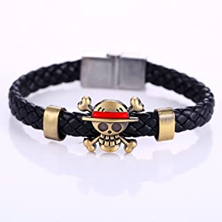 Hot Animation Luffy Alloy Skeleton Bracelets One Piece Weave leather bracelet Bangle cosplay jewelry