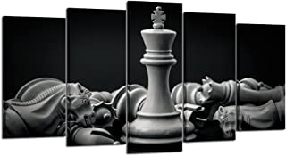 Kreative Arts - Black and White King and Knight of Chess Setup on Canvas Wall Art Paintings 5 Pieces Pictures Prints Poster Art Artworks for for Living Room Wall Decor (Large Size 60x32inch)