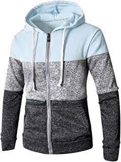 〓COOlCCI〓Men's Fashion Hoodies & Sweatshirts, Mens Novelty Color Block Patchwork Zip up Hoodies Cozy Sport Outwear Tops