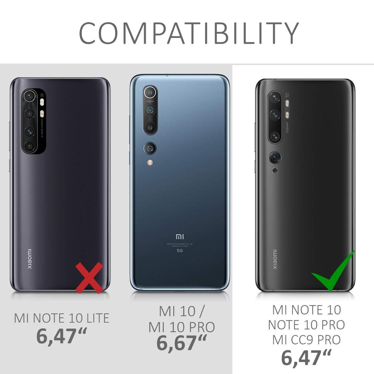 Protector Trasero en Negro Mate - Carcasa de TPU Silicona kwmobile Funda Compatible con Xiaomi Mi 10 Lite 5G