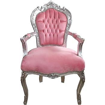 Casa Padrino Barock Esszimmer Stuhl mit Armlehnen Hellrosa