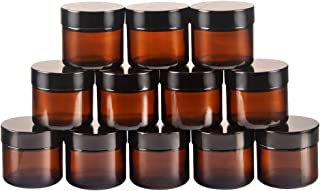 12 pack 2oz 2 oz Amber Glass Round Jars with White Inner Liners and black Lids.Glass Jars Prefect for Cosmetics and Face c...