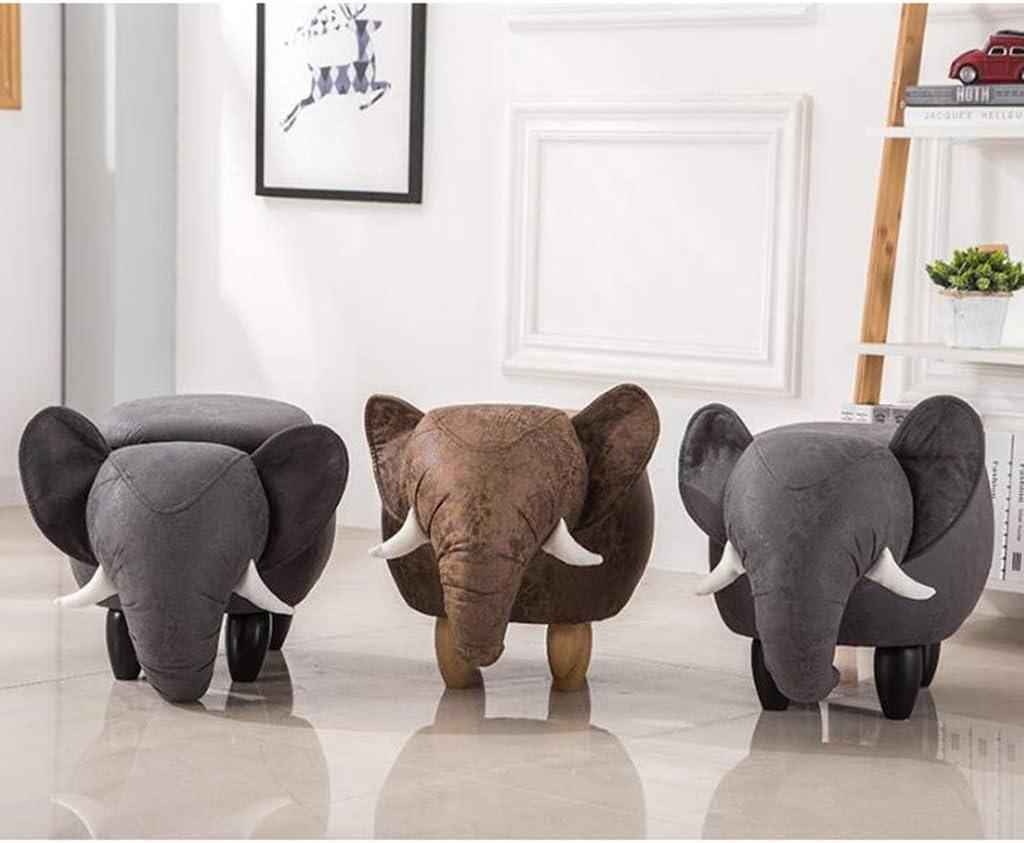 GWM Tabouret, Petit siège, Mode créatif Tabouret d'animal de Bande dessinée, Banc de Chaussure, Banc de canapé, Banc de Stockage d'éléphant 66 * 34 * 39cm (Couleur : Or) Brown