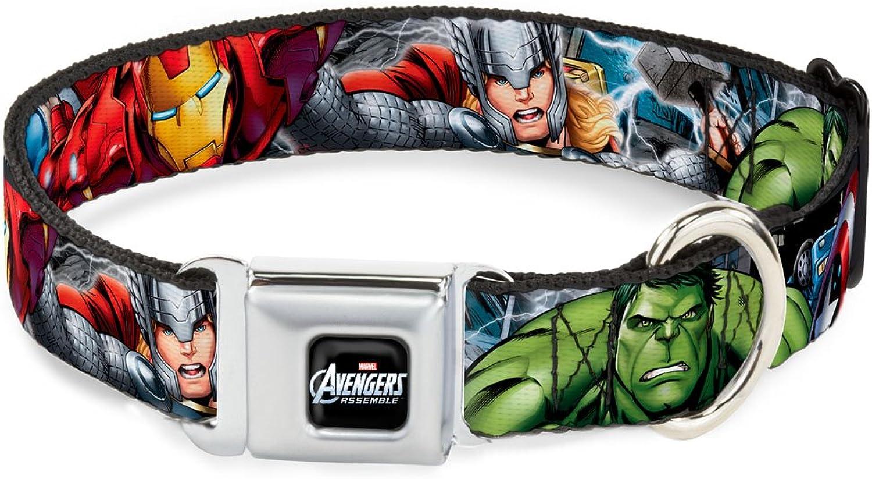 BuckleDown DCWAV012WL Dog Collar Seatbelt Buckle, Marvel Avengers 4Superhero Poses C U, 1.5  by 1832