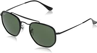 RB3648M The Marshal II Hexagonal Sunglasses, Black/Polarized Green, 52 mm