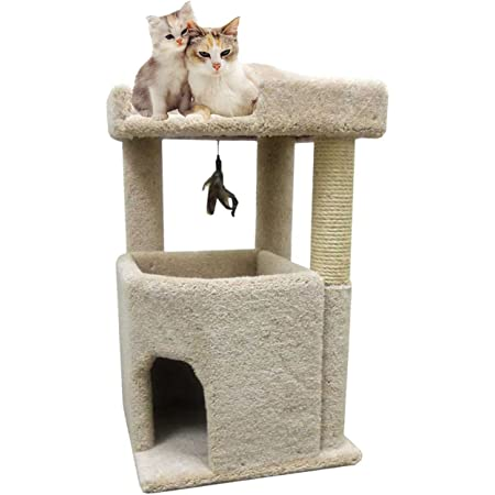CozyCatFurniture 33 inches Big Cat Condo Furniture for Large Cats, Made in USA, Solid Wood Poles, Large Bed and Sisal Scratching Post, Thick Carpet