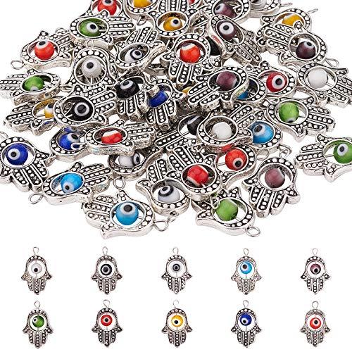 PandaHall 50 abalorios de Hamsa de plata envejecida con 10 cuentas de color de ojo maligno de mano de Fátima símbolo de mano para hacer joyas, collares y pulseras