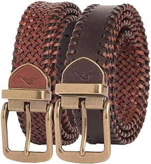 Tommy Bahama Men's 100% Leather Reversible Braided Belt