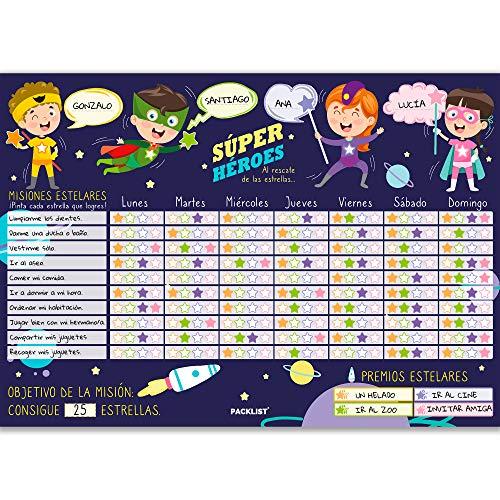 PACKLIST Tabla de Recompensas para Niños en Español de Superhéroes. Tabla Recompensas Niños, Calendario Infantil Educativo Misiones Personalizables. Tabla de Recompensas para Niños - Educa en Positivo