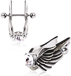 Feathered Angel Wings with Gem Cartilage Earring 316L Surgical Steel