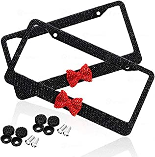 Zone Tech Shiny Bling Women License Plate Cover Frame - 2-Pack Crystal Black with Red Ribbon Bow Premium Quality Novelty/License Plate Frame with Mounting Screws