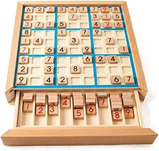 Rayking Wooden Sudoku Puzzle Board Wood Sudoku Game Set with Drawer Math Brain Teaser Desktop Toys