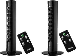 Princess - Elegante ventilador de columna (2 unidades, con temporizador y mando a distancia, 3 velocidades, oscilante, 50 W), color negro