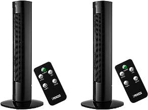 Elegante zuilventilator set van 2 in zwart met timer en afstandsbediening, 3 snelheden, oscillerend, 50 watt