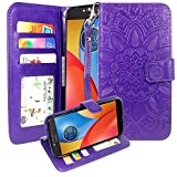 Moto E4 Plus Case, Harryshell Wrist Strap Kickstand Flip PU Leather Wallet Protective Case Cover with Card Slot for Motorola Moto E Plus (4th Generation) (Purple)