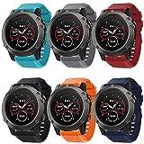 Supore Compatible con correa de reloj para Garmin Fenix 5X/Fenix 6X, correa de silicona suave de repuesto para Garmin Fenix 3/Fenix 5X Plus/Fenix 6X Pro/Fenix 6X Sapphire Smartwatch (6set)